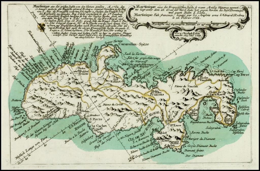 Martinique eine der Franzosischen Inseln so mann Antilae Minore . . . 1762 By Christian Friedrich von der Heiden