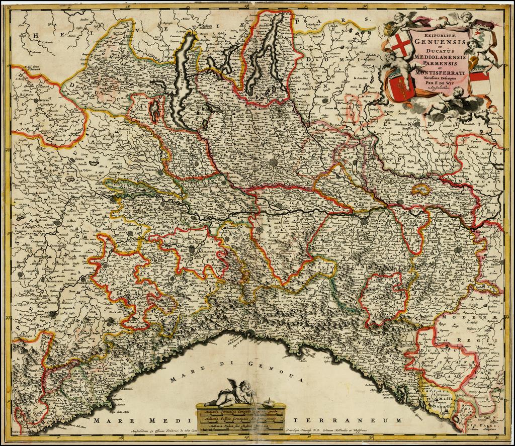 Reipublicae Genuensis et Ducatus Mediolanensis Parmensis et Montsferrati Novissima Descriptio By Frederick De Wit