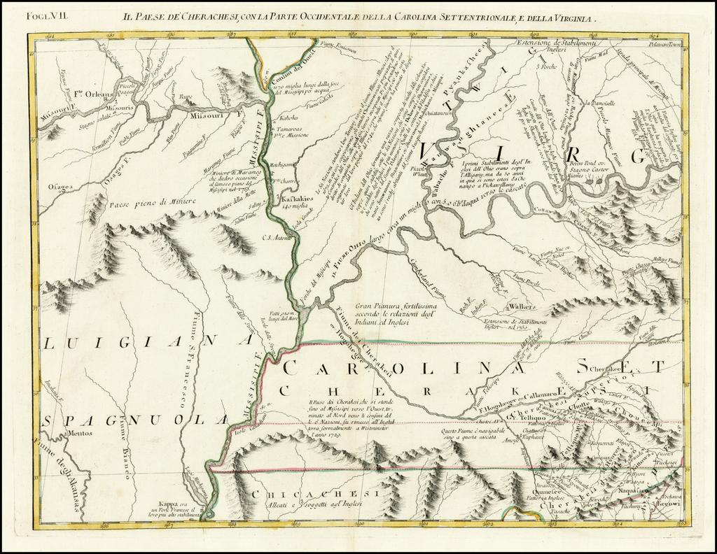 [Cherokee Country]  Il Paese De Cherachesi, Con La Parte Occidentalle Della Carolina Settentionale E Della Virginia By Antonio Zatta