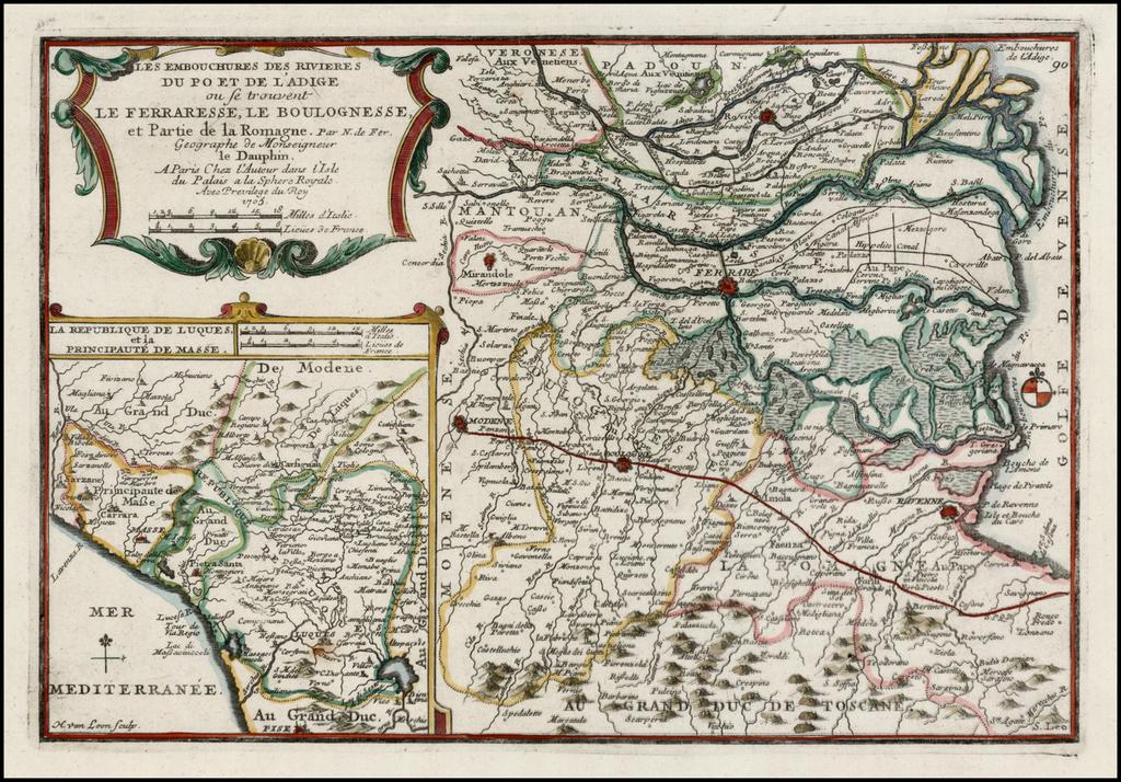 Les Embouchures Des Rivieres Du Po et De L'Adige ou se trouvent Les Ferraresse, Le Boulognesse et Parties de la Romagne . . . 1705 By Nicolas de Fer