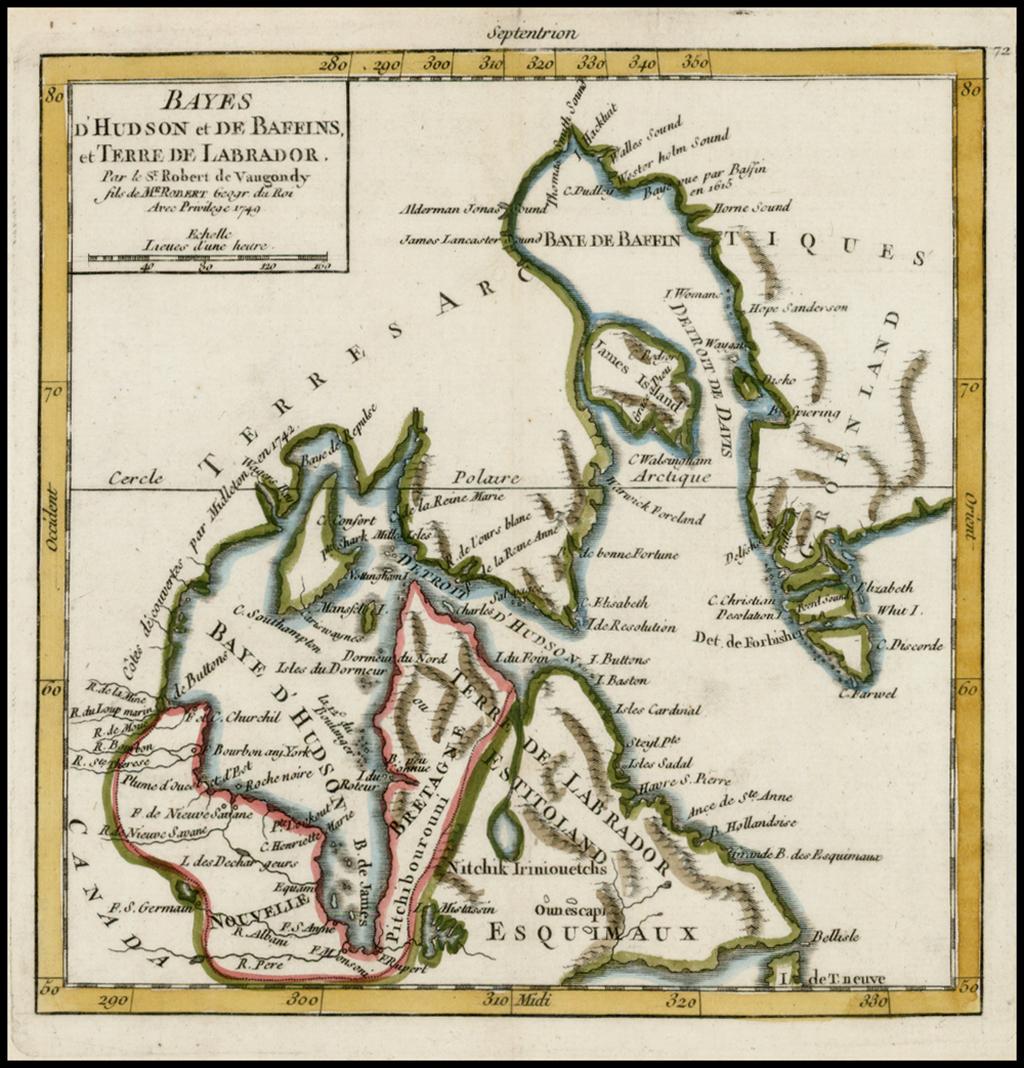Bayes D'Hudson et Baffins et Terr de Labrador . . . 1749 By Gilles Robert de Vaugondy