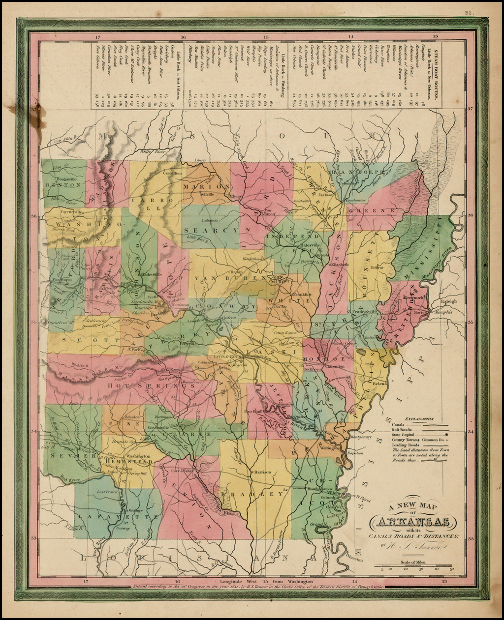 A New Map of Arkansas with its Canals Roads & Distances By Henry Schenk Tanner
