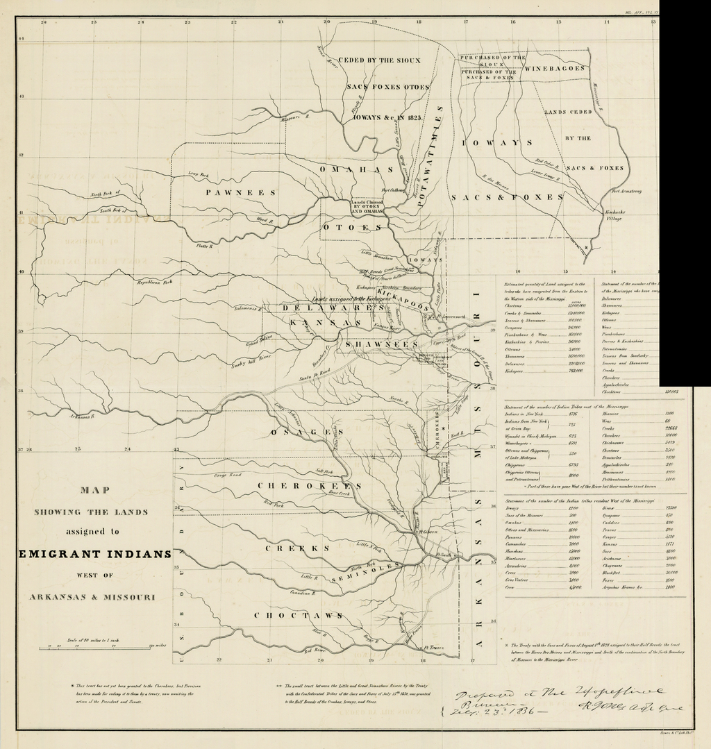 Map Showing the Lands assigned to Emigrant Indians West of Arkansas & Missouri By Washington Hood