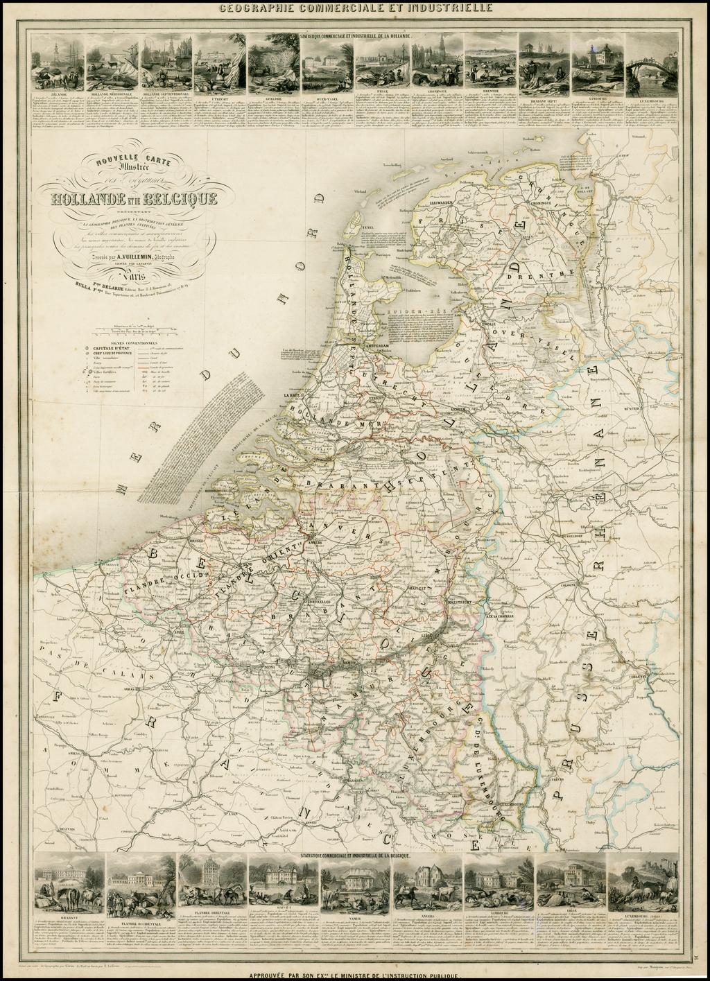 Nouvelle Carte Illustree des Royaumes de Hollande et de Belgique . . . (Decorative Vignettes) By Alexandre Vuillemin