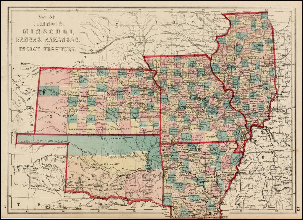 Map of Illinois, Missouri, Kansas, Arkansas, and Indian Territory By J. David Williams