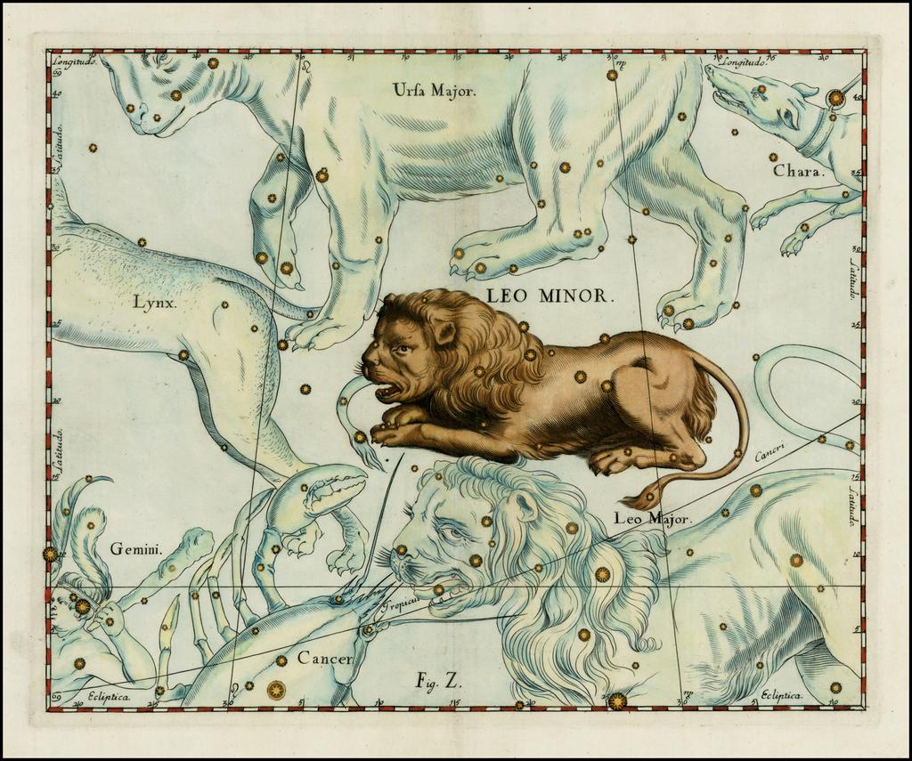 Leo Minor (Stars heightened in gold) By Johannes Hevelius