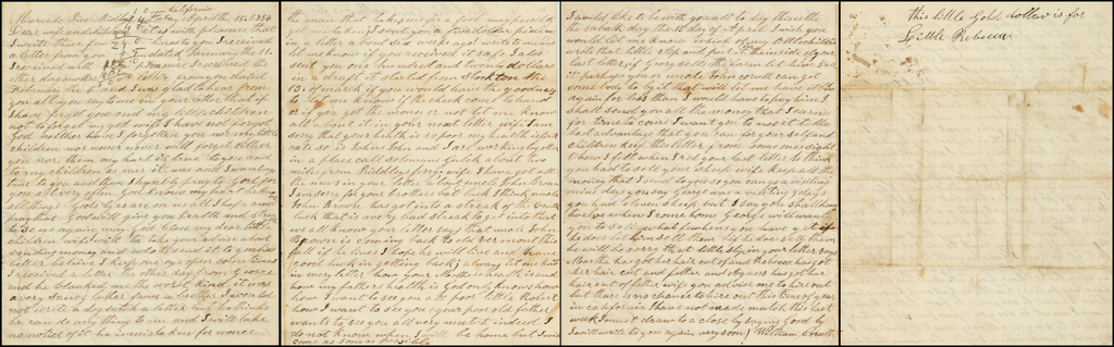 (California Gold Rush Letter -- Ridley's Ferry, California, April 15, 1854) By William Coruth