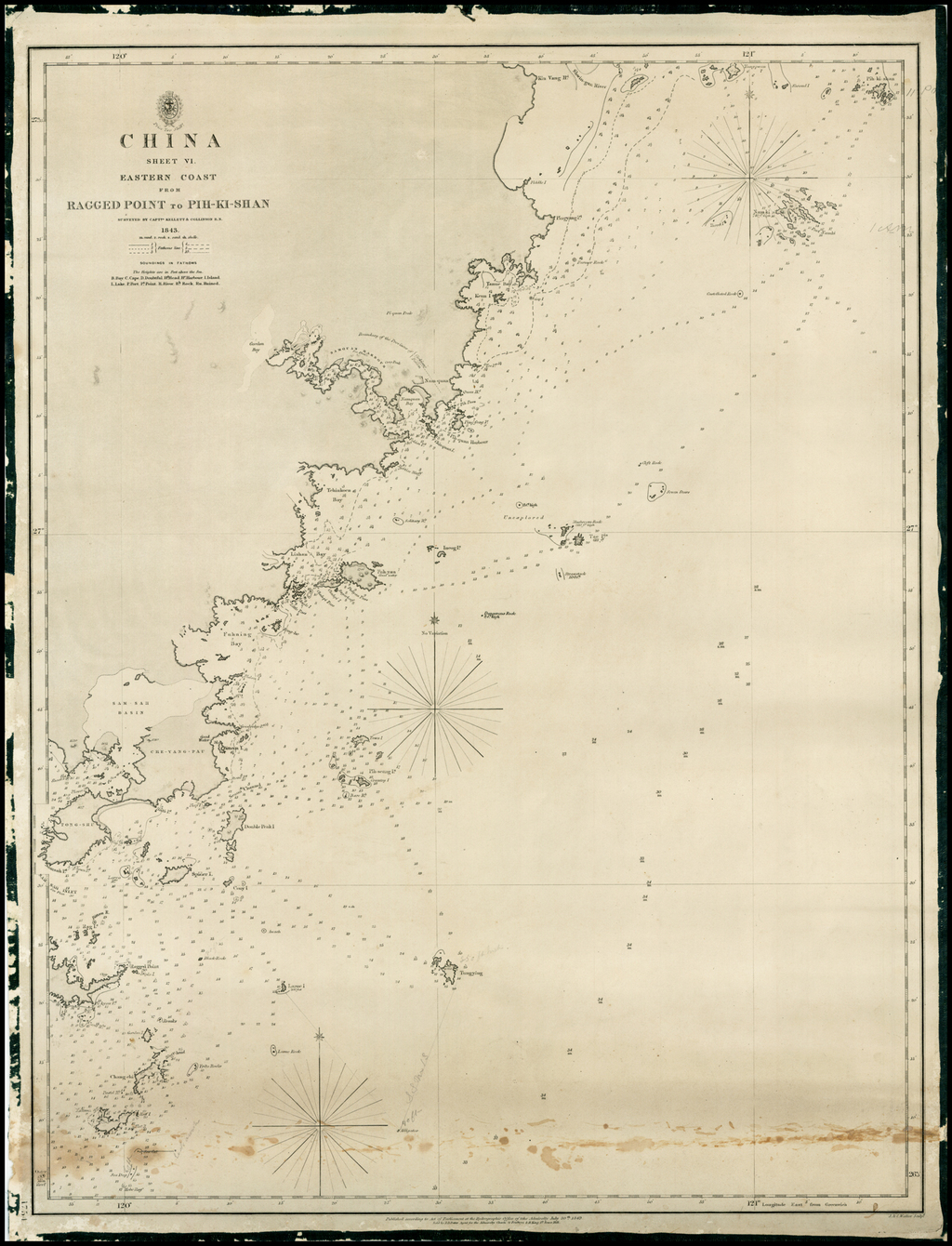 China Sheet VI  Eastern Coast From Ragged Point to Pih-Ki-Shan . . . 1843  (Pingyang to Huangqiwan) By British Admiralty