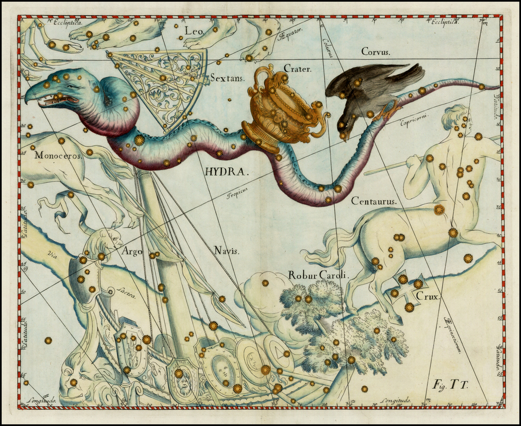 Hydra (Stars heightened in gold) By Johannes Hevelius