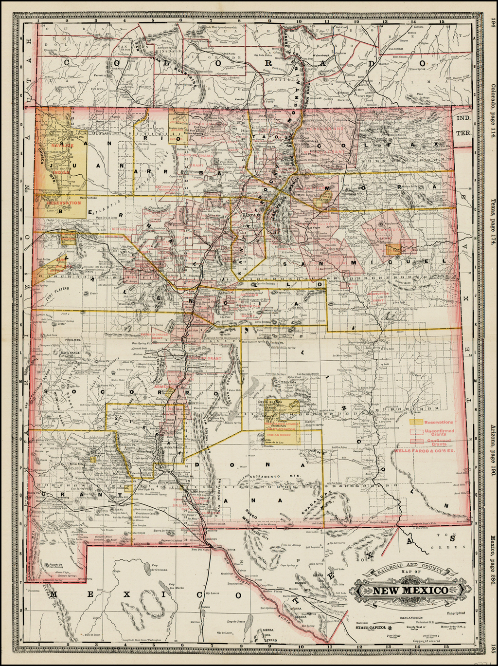 Railroad and County Map of New Mexico By George F. Cram