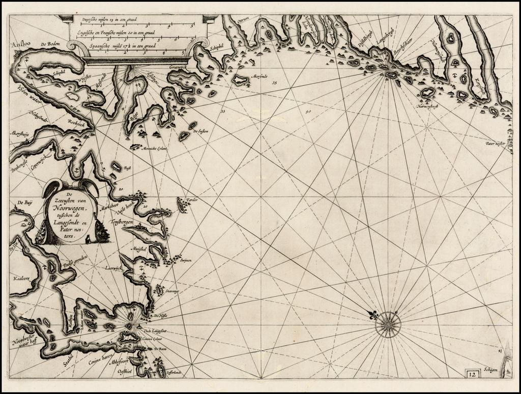 De Zeecusten van Noorwegen, tusschen de Langesondt en Pater nosters  (includes Oslo) By Willem Janszoon Blaeu