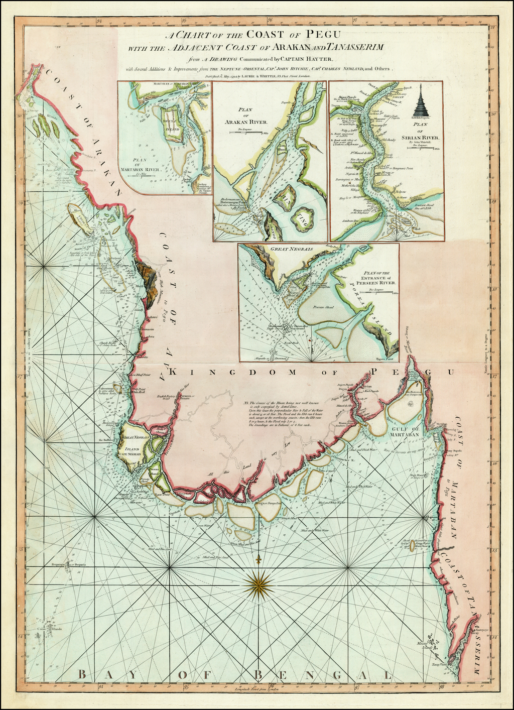 A Chart of the Coast of Pegu with the Adjacent Coast of Arakan and Tanasserim from A Drawing Communicated by Captain Hayter, with Several Additions & Improvements from the Neptune-Orientale, Capt. John Ritchie, Capt. Charles Newland, and Others . . . 1794 By Laurie & Whittle