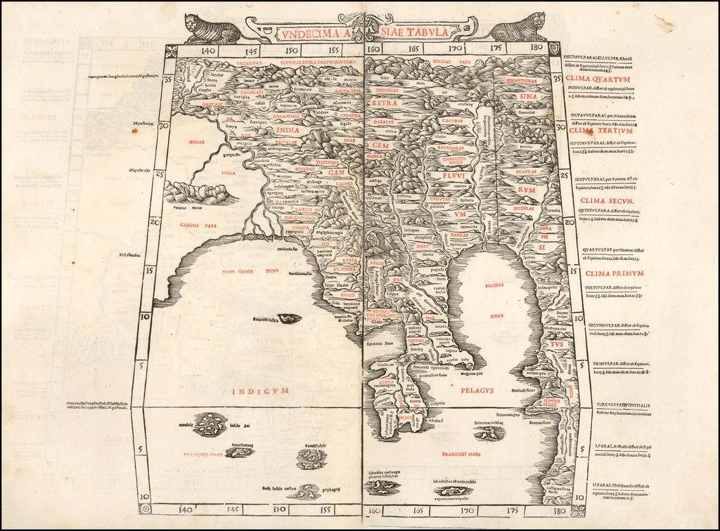 Undecima Asiae Tabula [India, Southeast Asia] By Bernardus Sylvanus