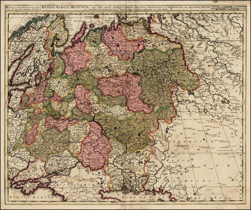 Russia Alba, sive Moscovia, regio valde extensa, divisaque in Regna, Ducatus, Principatus, et Provincias, cum adjacentibus Regnis By Gerard & Leonard Valk