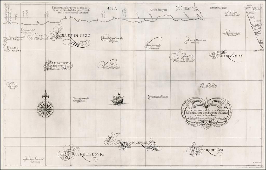Carta particolare della parte Orientale del' Isola di Iezo con Il stretto fra America e la detta Isola . . .  By Robert Dudley