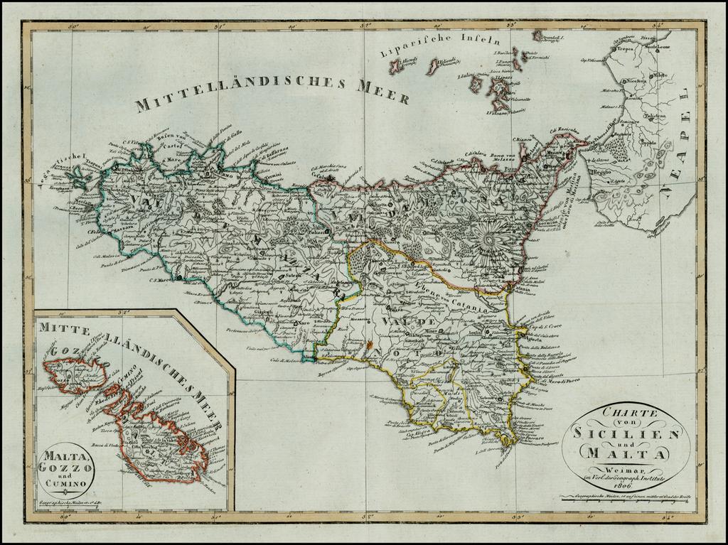 Charte von Sicilien und Malta . . . 1806 By Weimar Geographische Institut