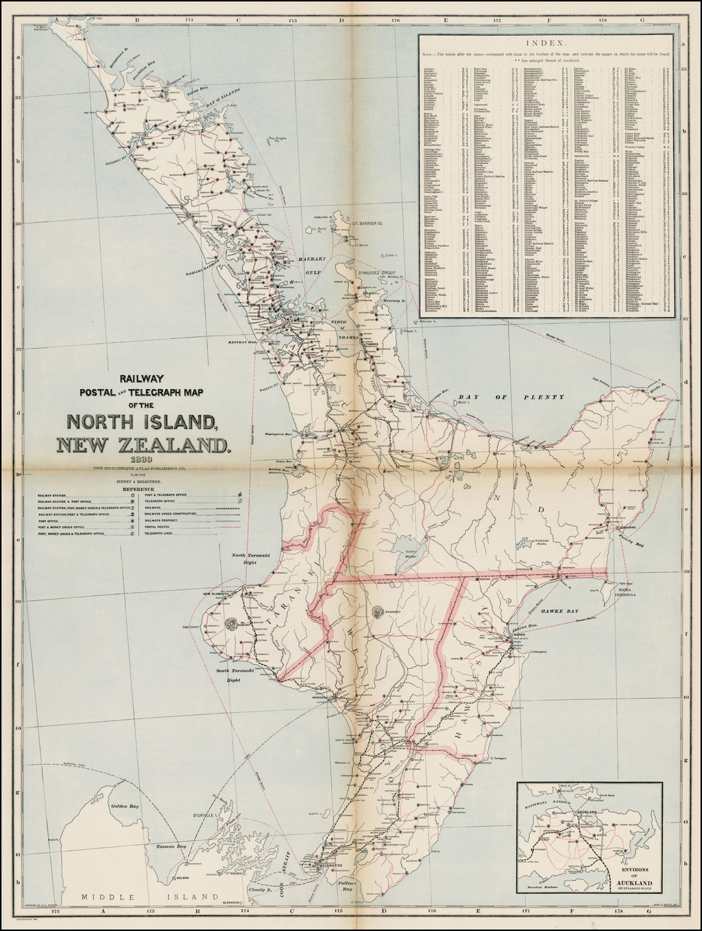 Railway Postal and Telegraph Map of the North Island New Zealand.  1889. By Andrew Garran