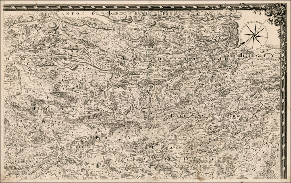 [Untitled Map of Part of Switzerland in the area of Canton Berne and Terre de Saint Claude] By Anonymous