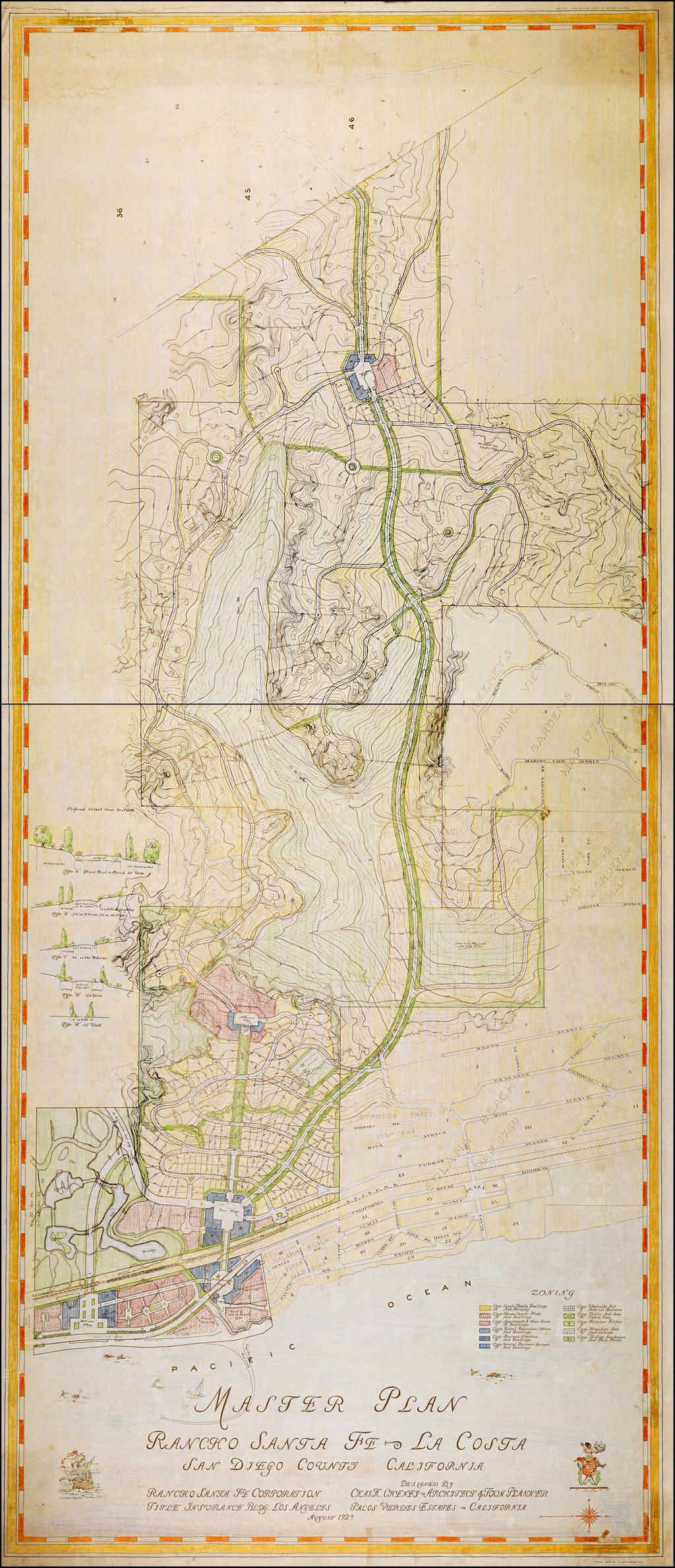 Master Plan | Rancho Santa Fe - La Costa  | San Diego County California . . . August 1929 By Charles Henry Cheney