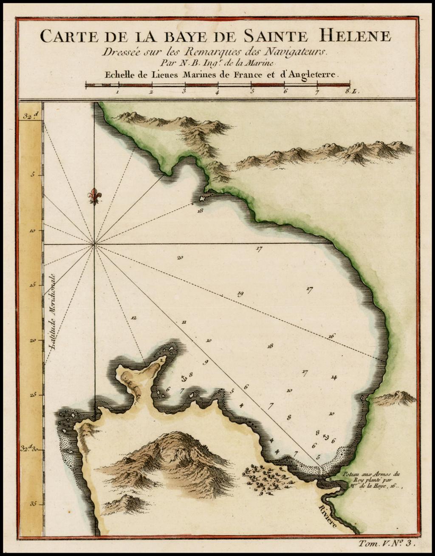 Carte De La Baye De Sainte Helene By Jacques Nicolas Bellin