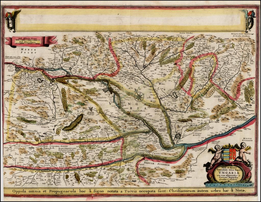 Nova et Recens Emendata totius Regni Ungariae una cum adjacentibus et Finitimis Regionibus Excudebat C. Danckertz . . . (Proof State) By Cornelis II Danckerts