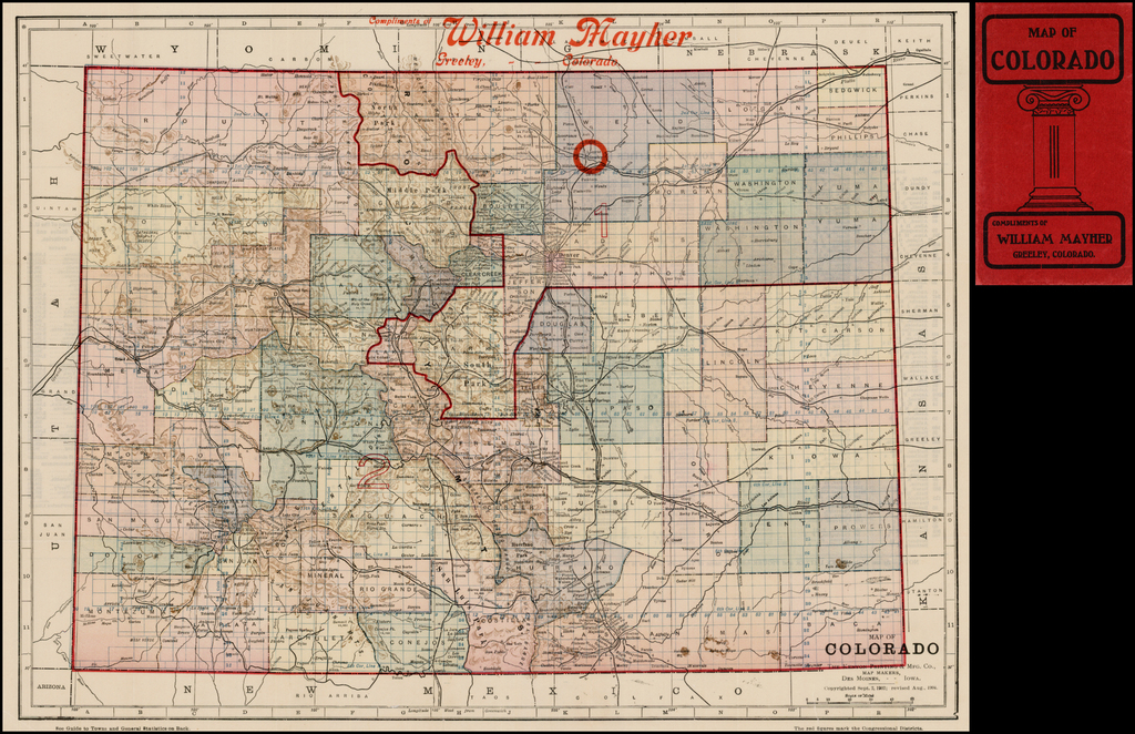 Map of Colorado (Pocket Map) By Kenyon Printing & Mfg Co.
