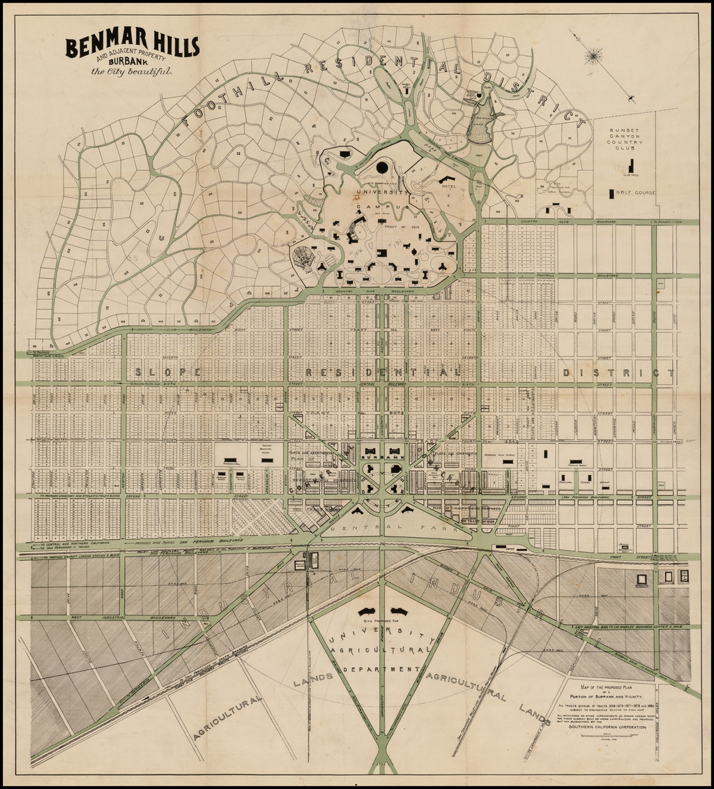 Benmar Hills and Adjacent Property Burbank the City Beautiful By Southern California Corporation