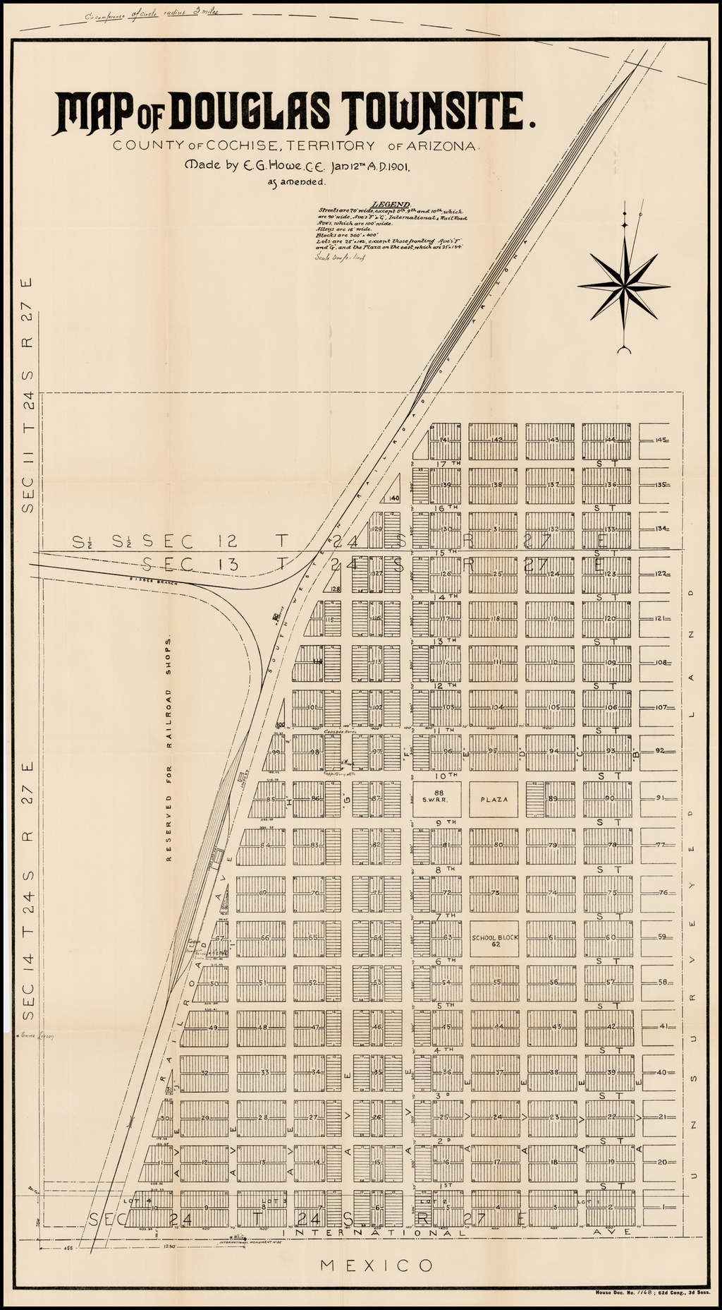 Map of Douglas Townsite.  County of Cochise, Territory of Arizona.  . . . 1901 By United States GPO