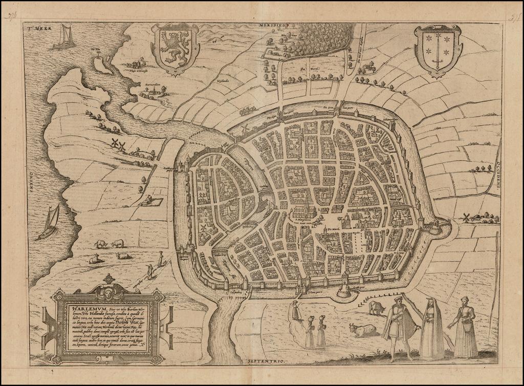 Harlemum, sive ut Ha: Barlan Her:lemum Urbs Hollandia famosa . . .  By Georg Braun  &  Frans Hogenberg