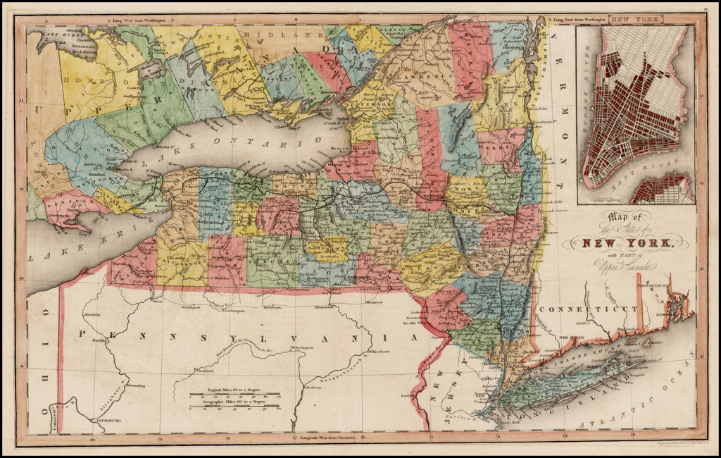 Map Of York Canada.Map Of The State Of New York With Part Of Upper Canada Large Inset