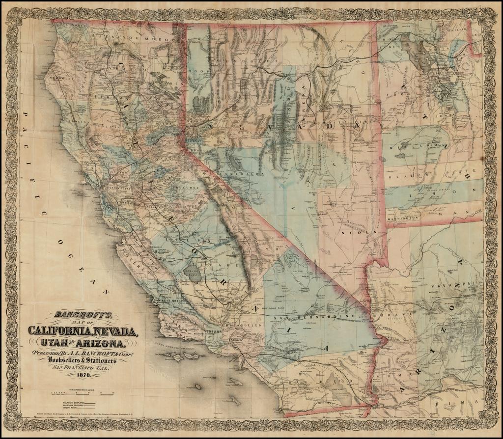 Map Of Nevada Utah And Arizona.Bancroft S Map Of California Nevada Utah Arizona 1878