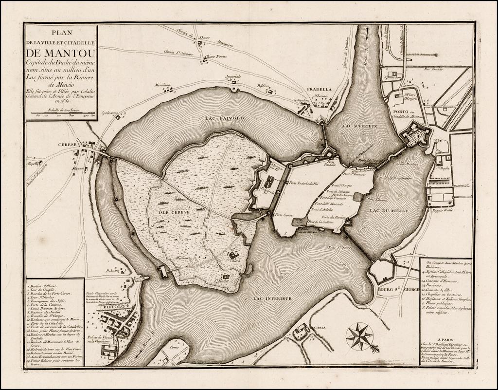 Plan de la Ville et Citadelle De Mantou Capitale du Duche du Meme nom situe au millieu d'un Lac forme par la Riviere de Mencio . . .  By Gaspar Baillieul