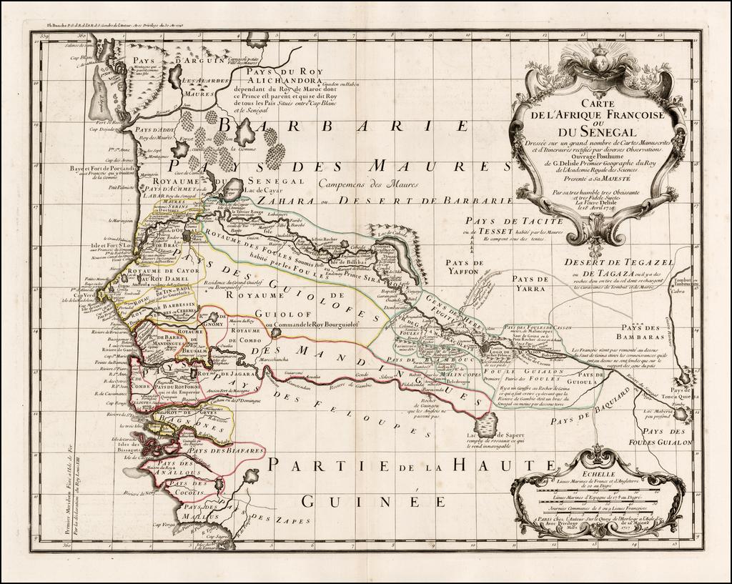 Carte De L'Afrique Francoise ou Du Senegal . . . 1726 By Guillaume De L'Isle / Philippe Buache
