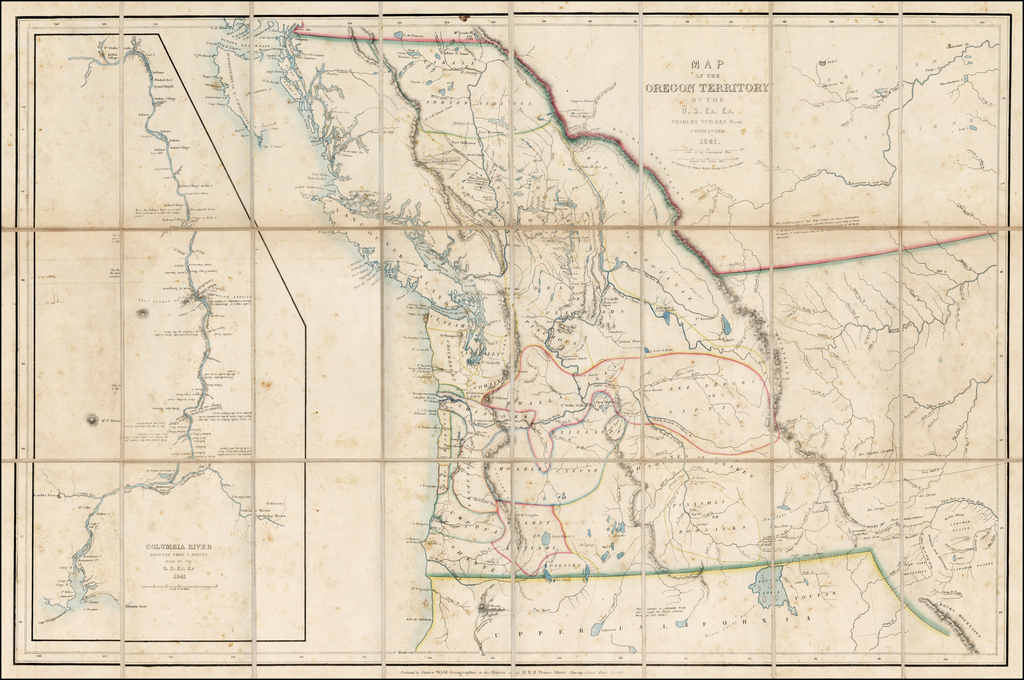 Map of the Oregon Territory By the U.S. Ex.Ex. Charles Wilkes Esqr. Commander.  1841. By James Wyld / Charles Wilkes