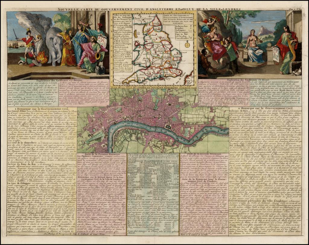 Nouvelle Carte Du Gouvernement Civil D'Angleterre Et de Celuy De La Ville De Londres [London Town Plan, etc] By Henri Chatelain