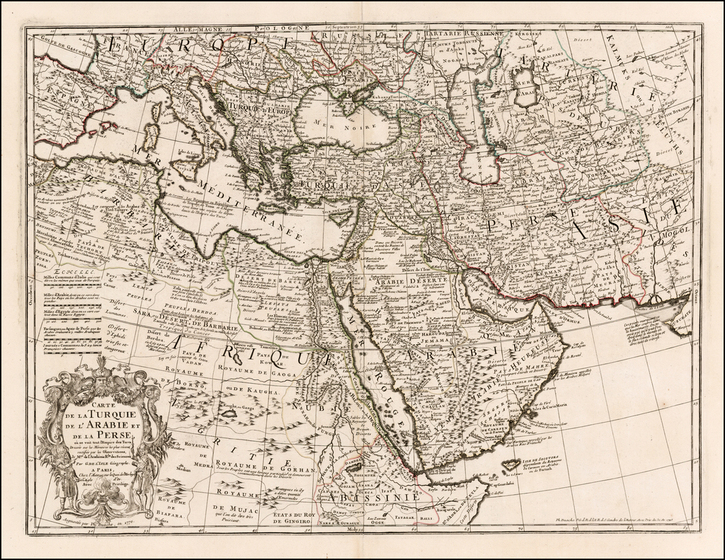 Carte De La Turquie De L'Arabie et De La Perse, ou se voit tout l'Empire des Turcs . . . 1770 By Jean-Claude Dezauche