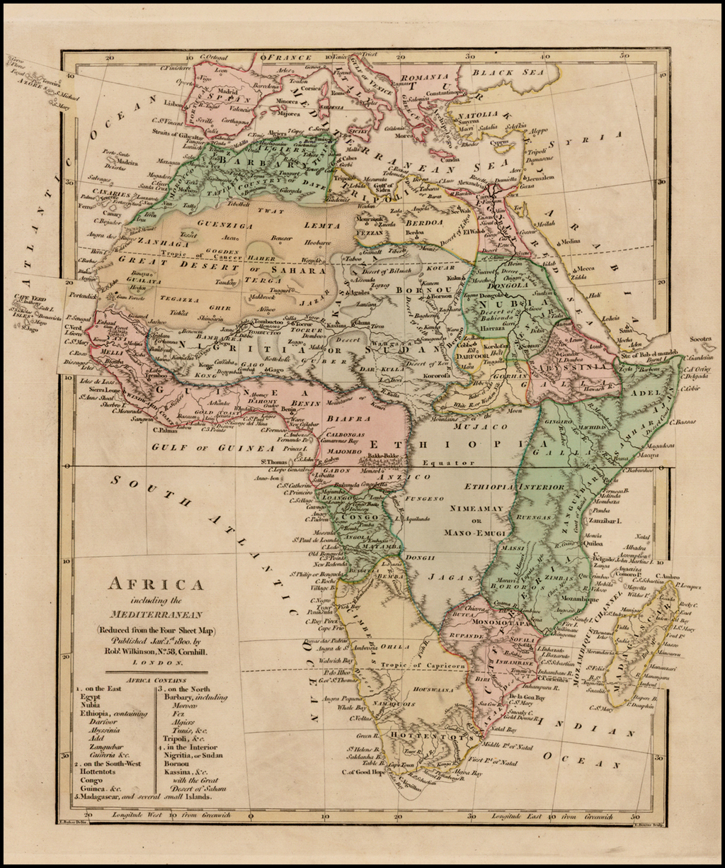 Map Of Africa In 1800.Africa Including The Mediterranean Reduced From The Four Sheet Map