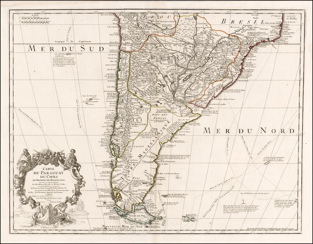 Carte du Paraguay du Chili du Detroit De Magellan &c. . . . 1703  By Guillaume De L'Isle / Philippe Buache