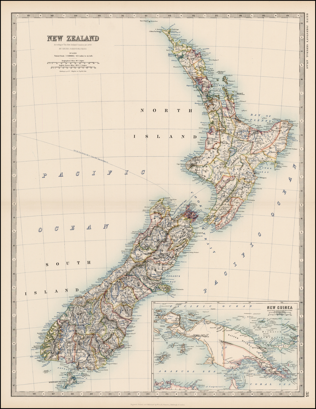 "New Zealand According to ""The New Zealand Countries Act 1876"" By W. & A.K. Johnston"