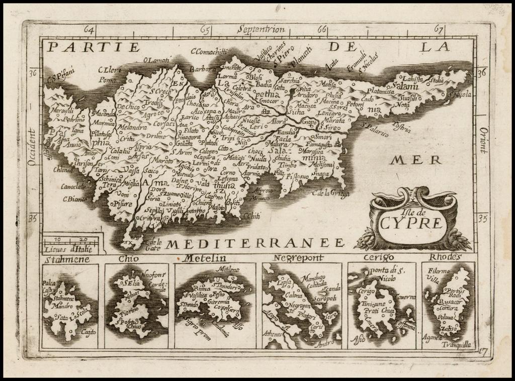 Isle de Cypre  (Unrecorded Cyprus!) By Jean Picart / Antoine De Fer