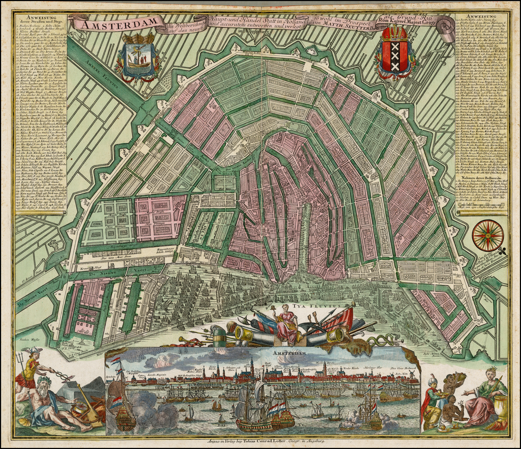 Amsterdam die Weltberuhmte Haupt-und Handel Statt in Holland auf das neuest und accurateset eintworffen und verlegt  . . .  By Matthaus Seutter