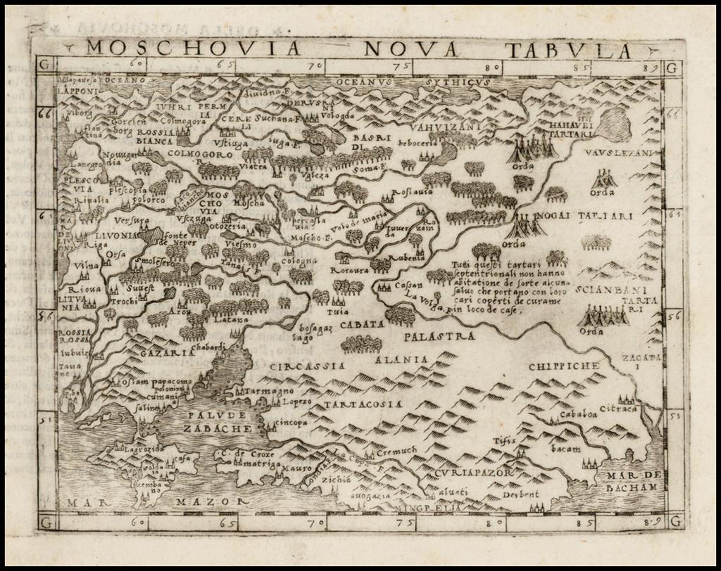 Moschovia Nova Tabula By Giacomo Gastaldi