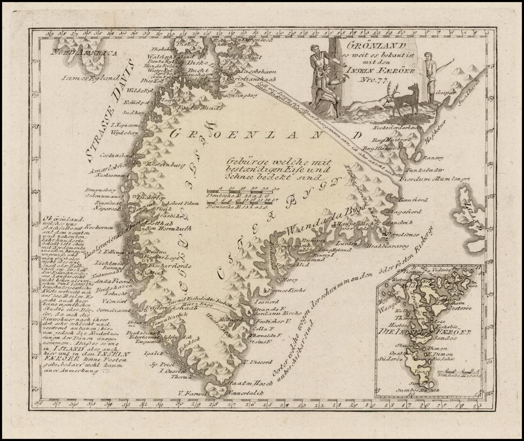 Gronland so weit es bekant is mit der Inseln Faeroer  By Franz Johann Joseph von Reilly