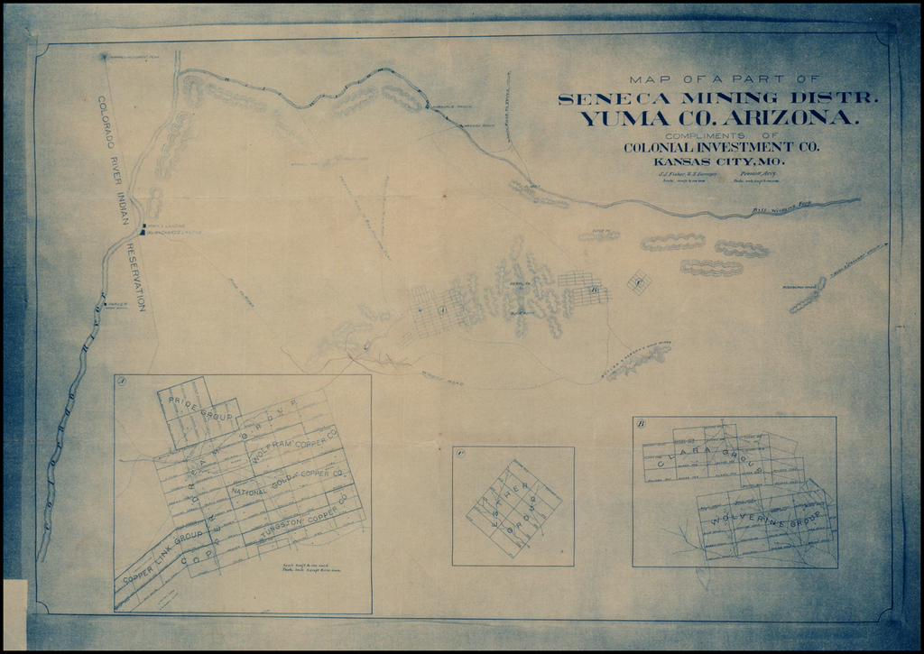 Map of Part of Seneca Mining Distr. Yuma Co. Arizona.  Compliments of Colonial Investment Co.  Kansas City, Mo. By