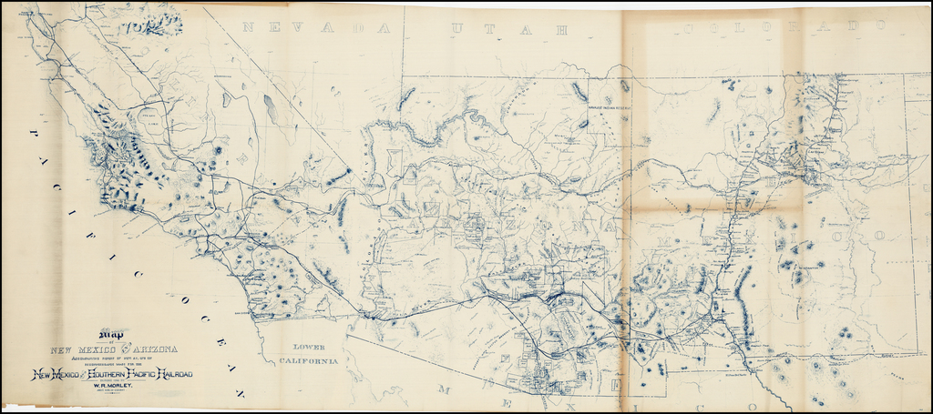Map Of Arizona Railroads.Map Of New Mexico And Arizona Accompanying Report Of Nov 27 1878