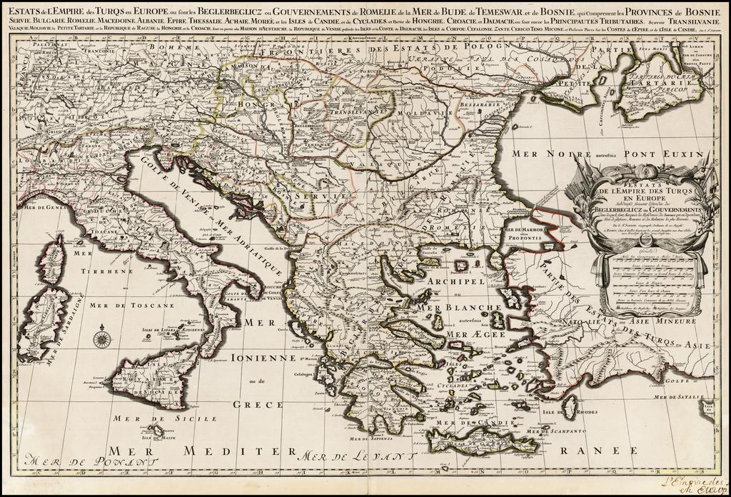 Estats de L'Empire des Turqs en Europe, ou sont les Beglerbeglicz our Gouvernements . . .  By Alexis-Hubert Jaillot