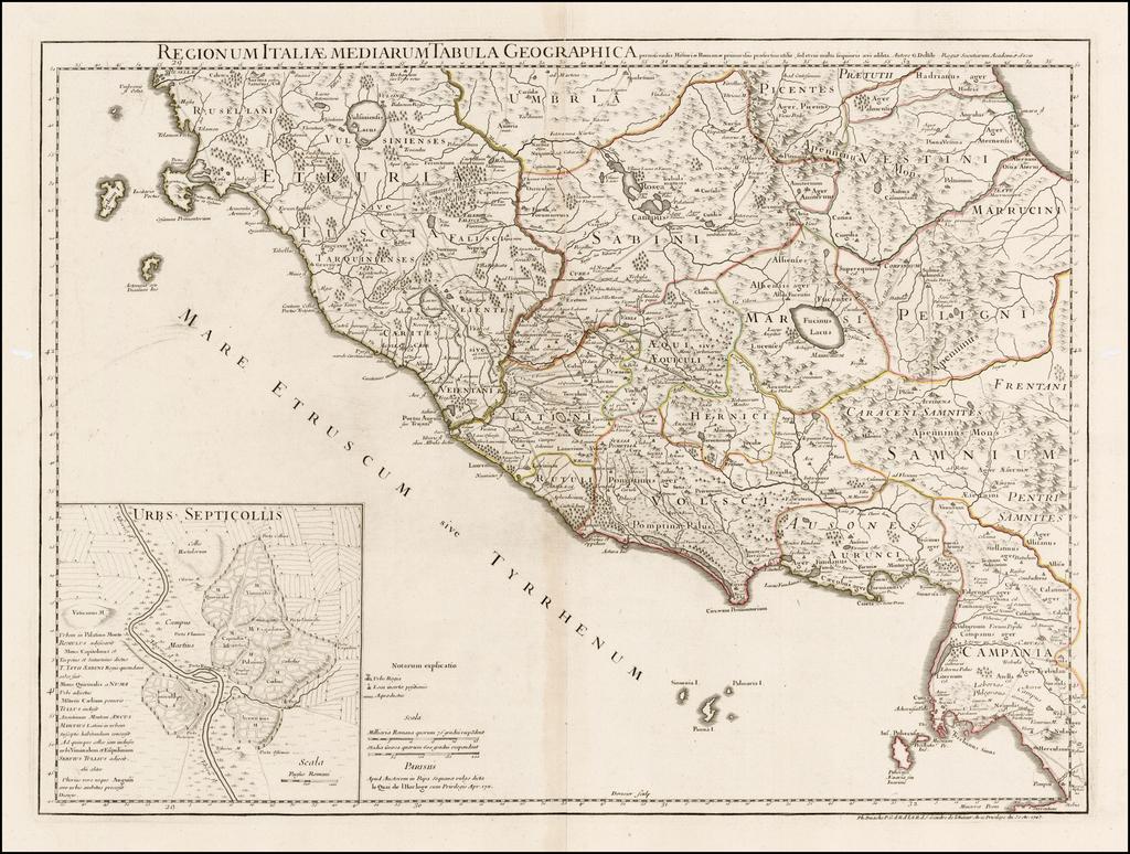 Regionum Italiae Mediarum Tabula Geographica By Philippe Buache