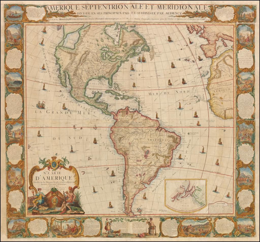 Amerique Septentrionale Et Meridionale Divisee En Ses Principaux Pais Et Subdivisee Par Audience . . . 1770  [Wall Map] By Louis Charles Desnos