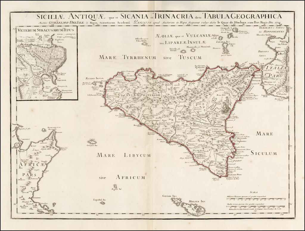 Siciliae Antiquae quae et Sicania et Trinacria dicta Tabula Geographica . . . 1714  (shows Malta) By Philippe Buache