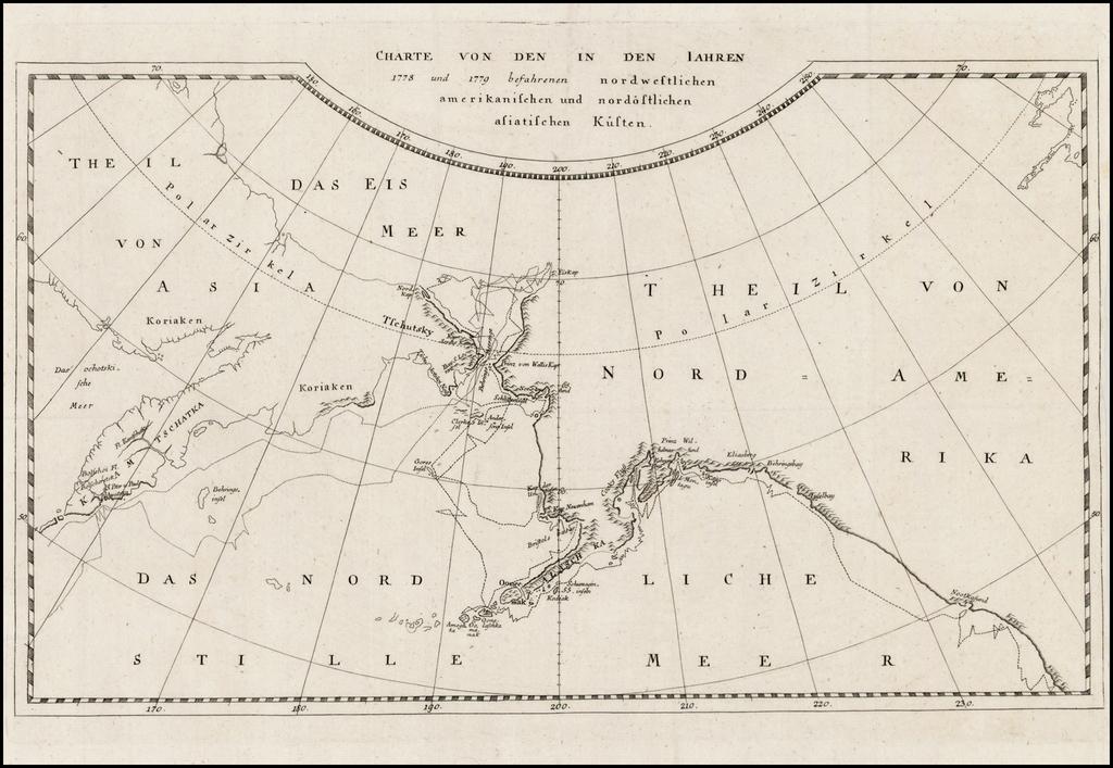 Charte Von Den In Den Iahren 1778 und 1779 befahrenen nordwestlichen amerikanischen und nordostlichen asiatischen Kusten By James Cook